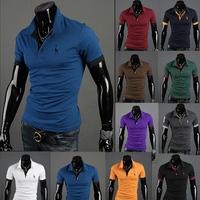 New-Mens-Stylish-Slim-Short-Sleeve-Casual-Polo-Shirts-T-shirt-Fashion-10-Colors