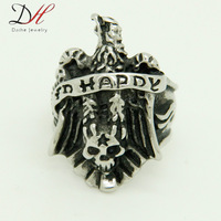 """Special Designer New Black Rings Skull Rings Cool """"Happy"""" Logo Eagle Ring Stainless Steel Rings for Men& Women,RN0683"""