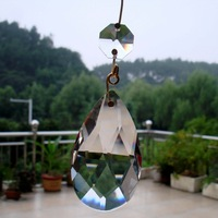 100pcs/lot 50mm crystal chandelier pendant +1pc14mm octagon beads in transparent color with golden metal connectors,freeshipping
