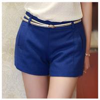 Free Shipping Hot Short Shorts Women 2014 Summer Korean Style Ladies Solid Color Blue Woman Fitness High Waist Shorts Feminino