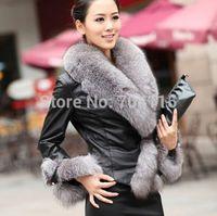 2014 hot-selling fox collar  faux wool fur coat