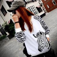 Autumn plus size clothing patchwork stripe loose sweatshirt batwing shirt long-sleeve basic shirt t-shirt