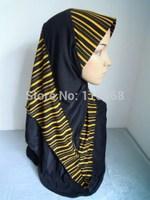 New Ice Silk Patchwork Stripe Style  Muslim Hijabs Fashion Islamic Hijab Islamic Scarf  Hijabs Free Shipping  Assorted Colors