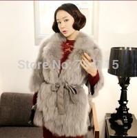 2014 ladies elegant fashion fox fur coat