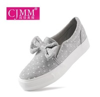 Super pretty and new low canvas shoes with thick soles muffin students bow shoes 35-39 shoes