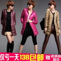 Winter thin slim with a hood down coat women outerwear medium-long plus size