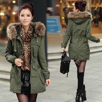 Free shipping new fashion casual fleece thickening parka female plus size fur collar coat jaqueta feminina women winter jacket