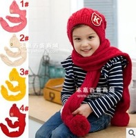 Children Knitted Hats Scarf Set Winter Kids Hat with Scarves Baby Earflap Cap Winter Protect Ear Wholesale #0673