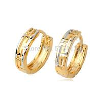 13mm Filigree Mazl 18k Multi-tone Gold Filled GF Women's Small Hoop Huggie Earrings Women's Free shipping