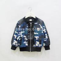 New 2014 Children Coat Long Sleeve Camouflage Boys' Coat Baby Boys' Outerwear Zipper Kids Fall Clothes Child Autumn Denim Jacket
