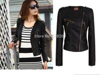 New 2014 Autumn Design Fashion Women Outwear Motorcycle Jacket Tops Black Brand Slim PU Leather Crop Short Female Windproof coat