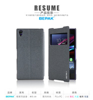 Z2 L50 Case, Original BEPAK Flip Leather Case Open Window with Stand Skin Pouch For Sony Xperia Z2 L50, Gift Screen Protector