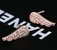 Brand new micro setting Swiss zircon angel wing stud earrings fashion lady jewelery wholesale