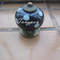 Free Shipping  10pcs30mm Ceramic Spots Dargon Ball Door  Handle Pull Knobs Cabinet Cupboard Drawer Locker Vintage Retro Black