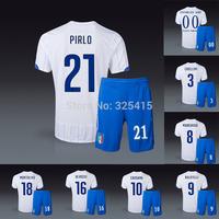 Italy away white 2014 soccer uniforms football kits jersey with short Balotelli Pirlo De rossi chiellini Marchisio cassano