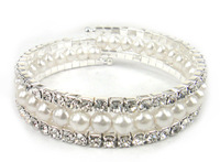 Free shipping Fashion Silver Plated Pearl and Crystal 3 row claw coil bracelet bangles