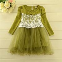 New 2014 Children Boutique dress girls Korean sweet princess long sleeves party dress baby girls lace gauze dress 5pcs/lot
