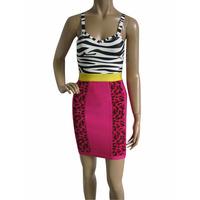 Free Shipping 2014 New Women's Zebra & Pink Print Spaghetti Strap Bandage Dress HL Sexy Celebrity Cocktail Party Prom dresses