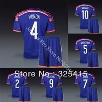 Japan 2014 jersey and short home blue soccer uniforms football kits Honda Kagawa Nagatomo Endo Okazaki Uchida