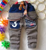 2014 new autumn  boy jeans pant denim suspenders pant 1-4 years