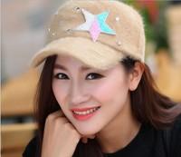 Free shipping 1pcs The Korean version of fashion women baseball cap autumn winter rabbit hair warm hat