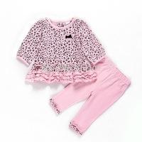 Retail Leopard Gilrs Spring/Autumn 2pcs suit Dress+Pants Infant Leisure Fashion clothing sets Baby casual dress Drop shipping
