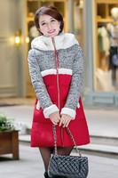E-Unique LF01 New 2014 Winter Coat Women Lambs Wool Padded Down Long Section Thick Warm Down Jacket Coat Women