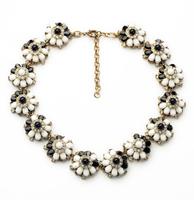 High quality 2014 fashion flower chain bib statement necklace for women