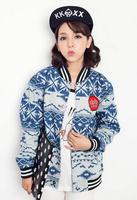 Direct Selling Women Denim Cardigan Sweatshirt 2014 Fashion Back Lip Print Hoodies WE8021