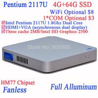 Mini pc computer itx cloud terminal Intel Pentium 2117U Dual Core with Fanless Full Aluminum Ultra Thin Chassis 4G RAM 64G SSD