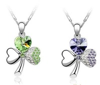 10pcs Clover heart shaped crystal necklace pendant good gift for anniversary Valentine Day girlfriend sisters Christmas day