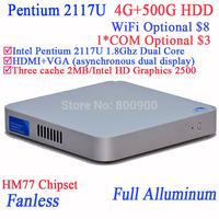 Cheap htpc mini itx htpc computer Intel Pentium 2117U Dual Core with Fanless Full Aluminum Ultra Thin Chassis 4G RAM 500G HDD
