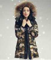 E-Unique LF02 New 2014 Winter Coat Women Camouflage Military Coat Hit Color Slim Thicker Long Down Jacket LF02