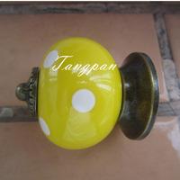 Free Shipping  10pcs30mm Ceramic Spots Dargon Ball Door  Handle Pull Knobs Cabinet Cupboard Drawer Locker Vintage Retro Yellow