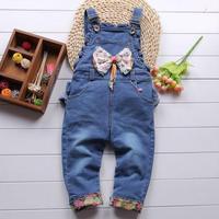 Baby 2014 openable-crotch sweet denim bib pants spring and autumn infant jumpsuit bib pants