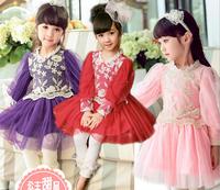 Baby Girls High Quality Scottland Style Lace Ganze Tutu Elegant Lantern Sleeve Dresses Wholesale 5 pcs/lot, Free Shipping