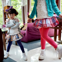 New 2014 New College fresh plaid fake two bottoming culottes children spring/autumn cotton clothing skirts leggings panties