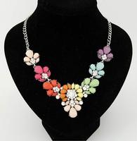 New Fashion Bib Choker Necklace Fluorescence  Colors Crystal Gem Flower Drop Necklaces & Pendants For Women XL-303