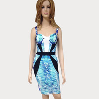 Free Shipping 2014 New Arrival Women's Blue Print Spaghetti Strap Bandage Dress HL Sexy Celebrity Cocktail Party Prom dresses