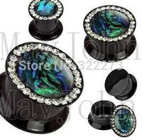 Abalone designs acrylic screw Plug Tunnel Ear Plug Flesh Tunnel Shell Plug Tunnel Gauges body jewelry  MJEPG39018