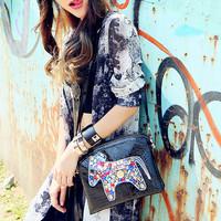 Cat bag fashion multicolour rhinestone fashion for Crocodile women's japanned leather handbag shoulder bag m06-207