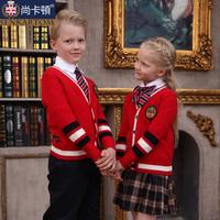 Elementary student school uniform class service kindergarten park service uniform fashion red cardigan t205