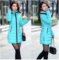2014 wadded jacket female winter jacket women outerwear slim girl jacket medium-long cotton-padded jacket pink coats ladies
