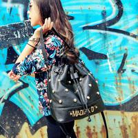 Cat bag fashion rivet bag women bag one shoulder cross-body vintage drawstring bucket bag m06-208