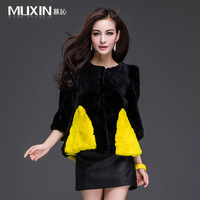 Women's Genuine Contrast Color Rex Rabbit Fur Coat