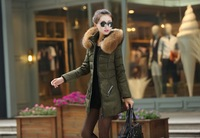 Thickening plus size raccoon large fur collar medium-long down coat women slim outerwear