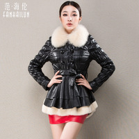 Women's Genuine Sheepskin Leather Down Jacket with Fox Fur Collar