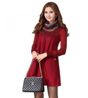 2014 women plus size clothing autumn and winter woolen one-piece dress muffler scarf q290