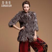 Women's Genuine Silver Fox Fur Coat
