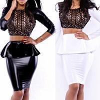 New  Women  Sexy Hole Faux Leather  Long  Sleeve Two Piece Set Peplum  Dress Bandage Midi Dress Club Pencil Dress 799